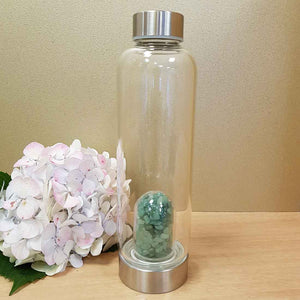 Green Aventurine Crystal Chip Energy Water Bottle
