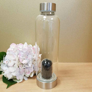 Black Obsidian Crystal Chip Energy Water Bottle
