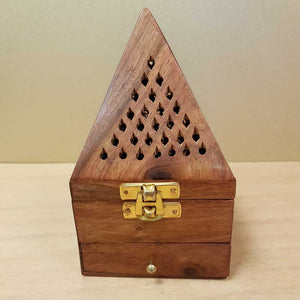 Sheesham Wood Cone Shaped Resin Charcoal or Incense Burner (approx. 15x8.5x8.5cm).