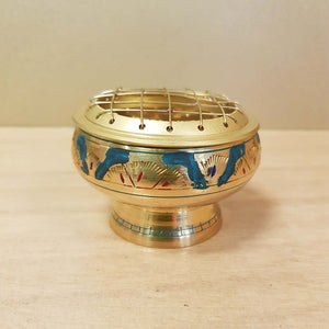 Brass Engraved Charcoal Resin Burner with Green.