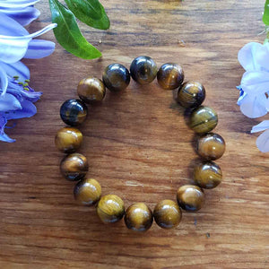 Gold Tiger's Eye Bracelet (assorted. approx. 12mm round beads)