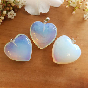 Opalite Heart Pendant (man-made) 25mm sterling silver