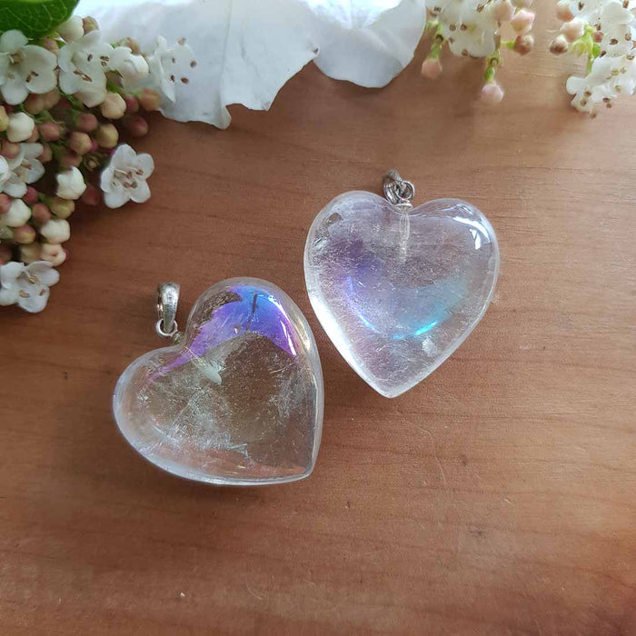 Angel Aura Quartz Heart Pendant (25mm)