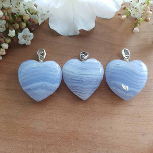 Blue Lace Agate Heart Pendant. (assorted approx. 2cm sterling silver bale)