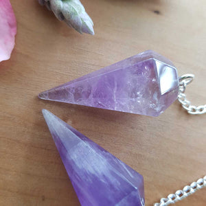 Amethyst Faceted Point Pendulum