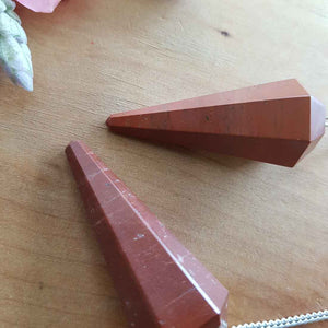Red Jasper Faceted Point Pendulum