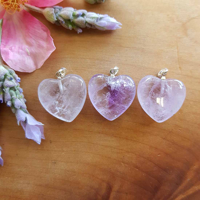 Amethyst Heart Pendant (assorted. approx 2cm. sterling silver bale)