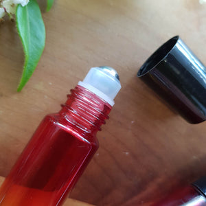 Red/Amber Gradient Coloured Essential Oil Roller Glass Bottle (empty 10ml capacity)