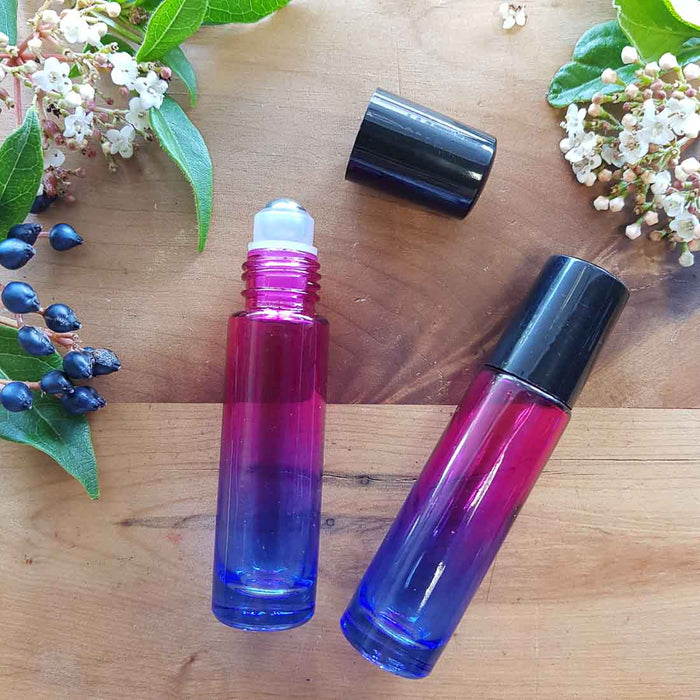 Pink/Blue Gradient Coloured Essential Oil Roller Glass Bottle (empty. 10ml capacity)