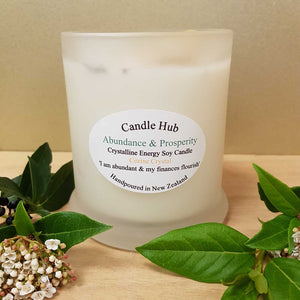 Abundance & Prosperity Crystalline Energy Candle. (NZ handcrafted sustainable assorted)