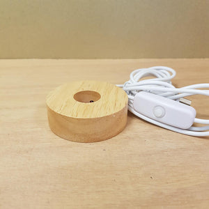 Warm White Light LED USB Base. (approx. 6x6x2cm)