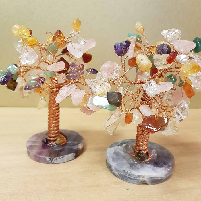 Crystal Mix Tree with Fluorite Base. (assorted approx. 11x9cm)