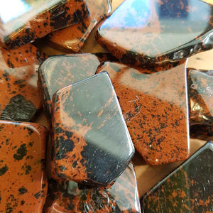 Mahogany Obsidian Polished Slab. (assort. approx. 3-4.5x3-5cm)