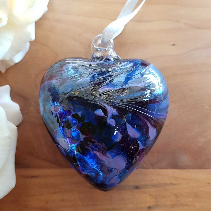 Purple & Blue Hand Crafted Friendship Heart. (glass. approx. 8x8cm)