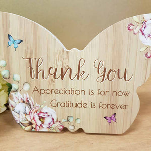 Thank You Butterfly Plaque. (approx. 8x10cm)