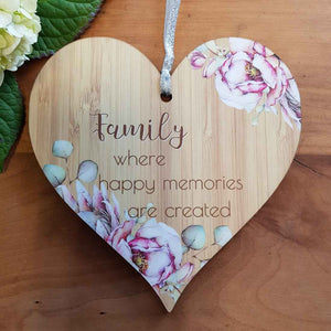 Family Where Happy Memories Heart Wall Plaque. (approx. 15x15cm)