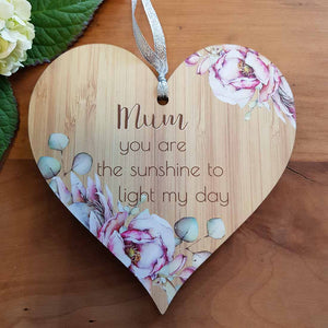 Mum You Are The Sunshine Heart Wall Plaque. (approx. 15x15cm)