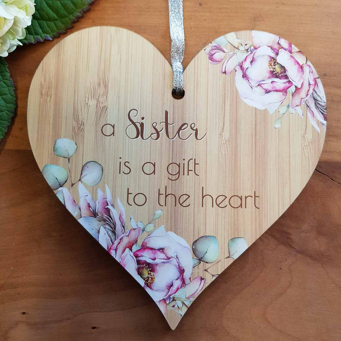 A Sister is a Gift Heart Wall Plaque (approx. 15x15cm)