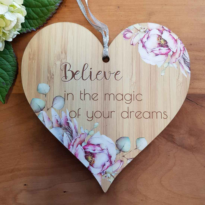 Believe in the Magic of Your Dreams Heart Wall Plaque (approx. 15x15cm)
