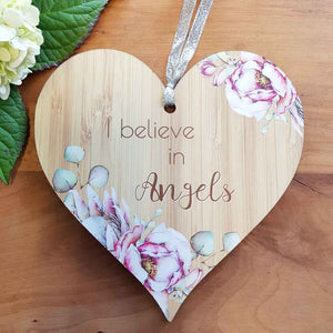 I Believe in Angels Heart Wall Plaque. (approx. 15x15cm)