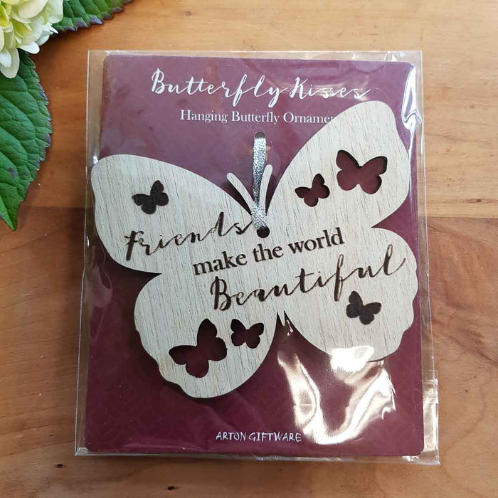Friends Make the World Beautiful Hanging Butterfly. (approx. 8x10cm)