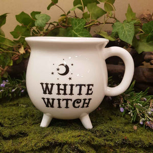 White Witch Cauldron Mug. (approx. 10 x 10 x 10cm)