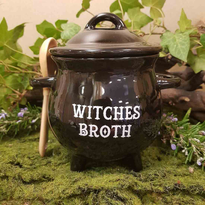 Witches Broth Cauldron Bowl & Spoon. (approx. 14 x 14 x 10cm)