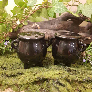 Witches Cauldron Salt & Pepper Shakers. (approx. 9x8x4.5cm the pair)