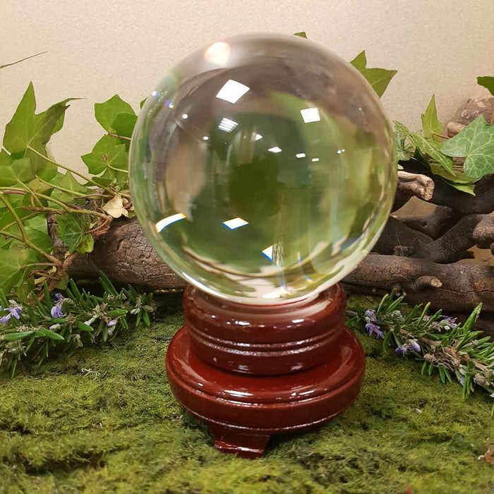Crystal Ball & Stand (glass approx 11cm diameter)