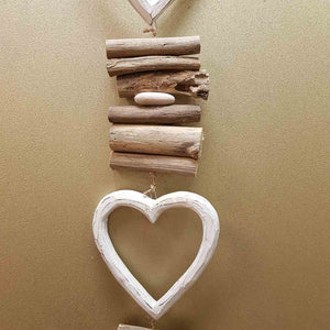 Hanging Triple Whitewash Heart with Driftwood (approx. 82x12cm)