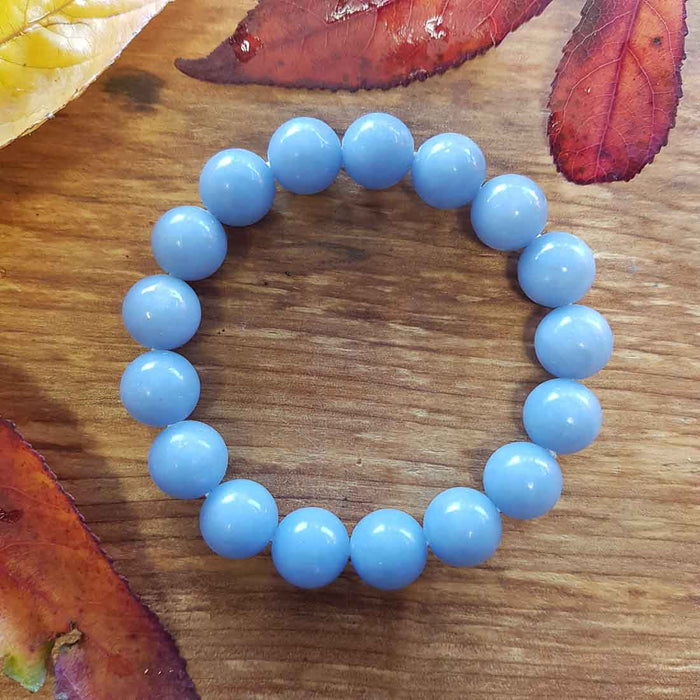 Angelite Bracelet. (assorted. approx. 12mm round beads)