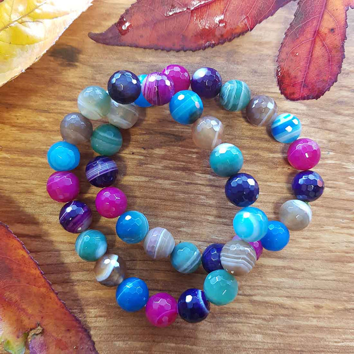 Agate Bracelet (faceted & dyed. assorted. approx. 10mm round beads)