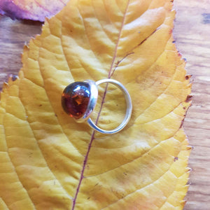 Amber Ring (sterling silver).