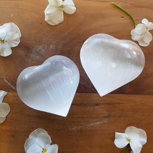 Selenite Heart. (assorted approx 6x6.5x3cm)