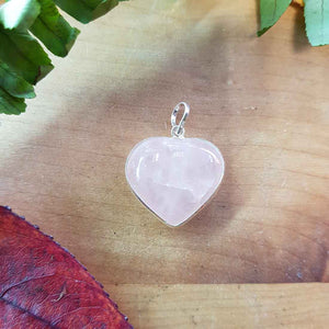 Rose Quartz Heart Pendant. (assorted. sterling silver bale)