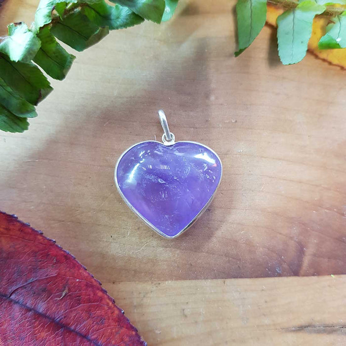 Amethyst Heart Pendant. (assorted. sterling silver bale)