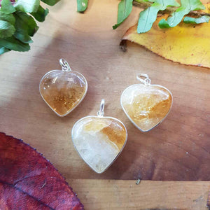 Citrine Heart Pendant. (assorted. sterling silver bale)
