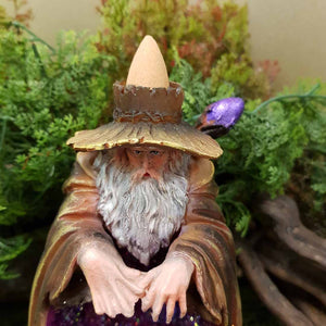 Wizard Backflow Incense Burner. (lights up. approx. 17x11x10cm).