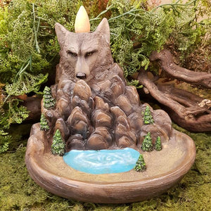 Wolf Backflow Incense Burner. (approx. 12x16x12cm)
