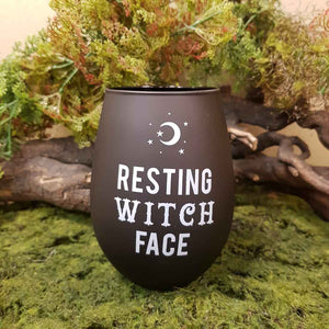 Resting Witch Face Stemless Wine Glass. (approx. 500ml capacity)
