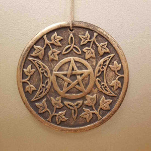 Triple Moon Plaque. (bronze look terracotta. approx. 20x20cm).