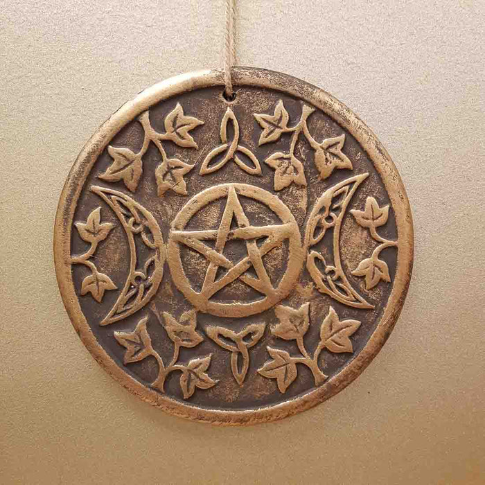 Triple Moon Plaque (bronze look terracotta. approx. 20x20cm)