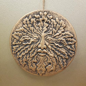 Oak King Plaque. (bronze look terracotta. approx. 20x20cm).