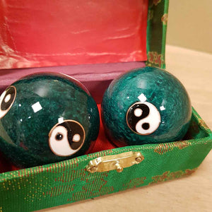 Green Yin Yang Health Balls. (box colours vary. approx size of each ball is 5cm)