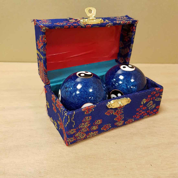 Blue Yin Yang Health Balls.  (box colours vary. approx size of each ball is 5cm)