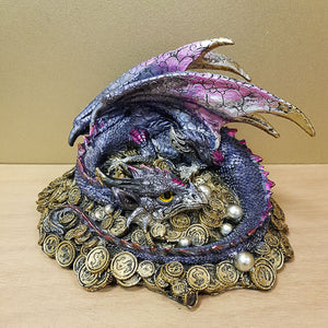 Blue Dragon on Treasure (approx 19x16x13cm)