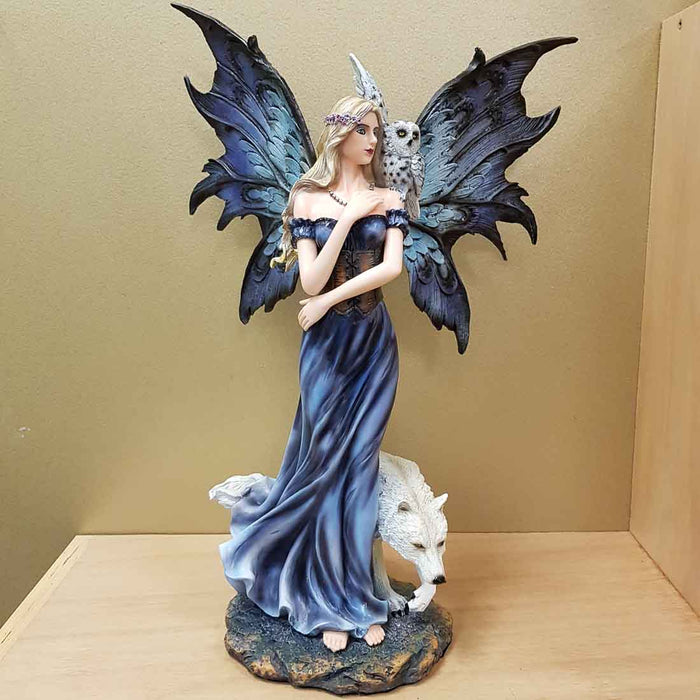 Wind Fairy with Her Wolf & Owl. (approx. 41x27x16cm)