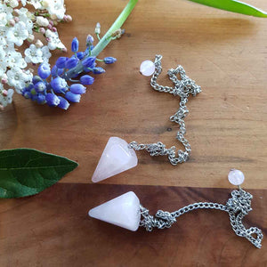 Rose Quartz Faceted Pendulum (small)
