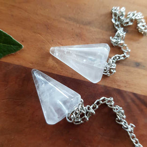 Clear Quartz Faceted Pendulum (small)