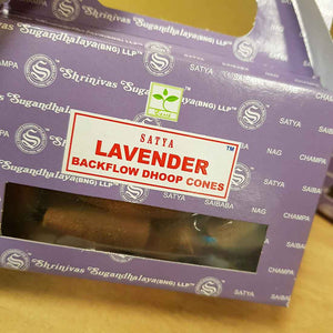 Lavender Backflow Incense Cones. (Satya. pack of 24)